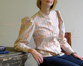 Womens recycled peach, grey, striped, oxford cloth, fitted blouse, leg-of-mutton sleeves, vintage mother-of-pearl buttons, steampunk size 12