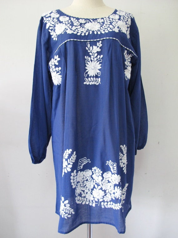 Mexican embroidered dress cotton tunic in blue boho by
