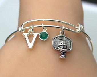 Basketball Team - Stainless Steel Bracelet - Basketball Team Player Bracelet - Personalize, Initial , Birthstone - Team Gift , 48