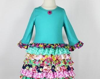 T-shirt dress girls pattern pdf ruffles toddler   RUFFLE RUMBA