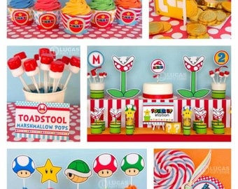Super Mario Inspired Birthday Party - DIY PRINTABLE Personalized Package FULL Collection - H3a