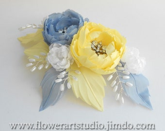 Bridal Headpiece, Yellow and Blue-gray flower comb, Pearl and flower bridal comb, Bridal Hair Flower, Bridal Hair Accessories.