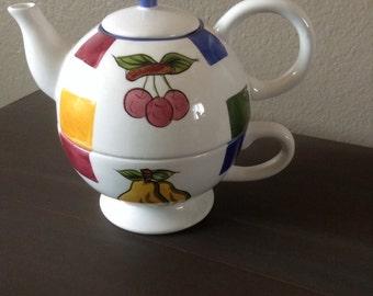 Vintage Fruit Teapot Set - Three Piece Teapot and Teacup Set - Fruit Motif - Teapot Vase - Bridal Shower - Tea Party