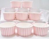8 Pink striped paper cups - ice-cream cups - party favour cups - dessert cups with spoons - pink party supplies - party favours - pink cups