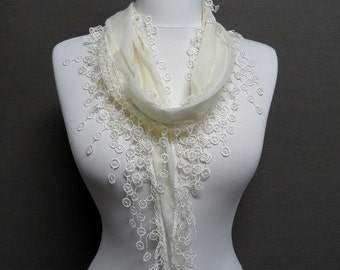 Cream Color Lace scarf, Embroidery scarf, Fringe Scarf, trim shawl, Guipure Scarf spring - summer - fall fashion