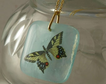 Blue butterfly fused glass pendant