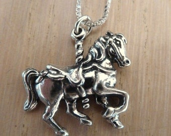 Sterling Silver Large Carousel Horse Necklace