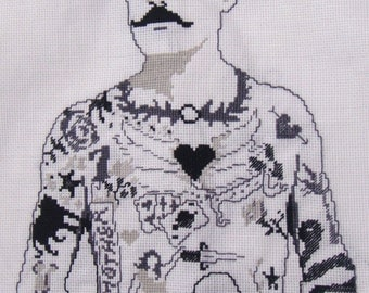 Tattooed Man counted cross-stitch pattern