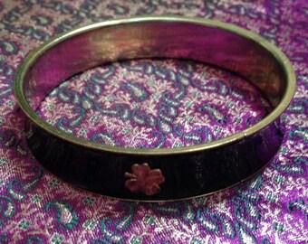 Vintage Gold Tone Lucky Four Leaf Clover Black Enamel Silvertone Bangle Bracelet