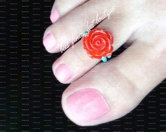 Toe Ring - Red Rose - Polymer - Stretch Bead Toe Ring