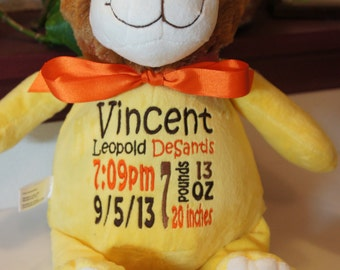 Personalized baby gift baby cubbies hooty lou the personalized baby gift baby cubbies sundrop the lion birth announcement stuffed animal negle Choice Image