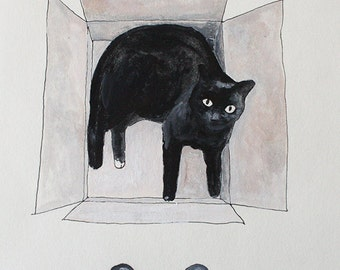 black cat in a box  Etsy  illustration for the wall