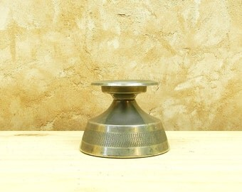 Vintage Danish Mid Century Pewter Candle Holder / Danish Design/ Mid Century Modern/ Scandinavian / European Retro Home/ Metal Work/ Nordic