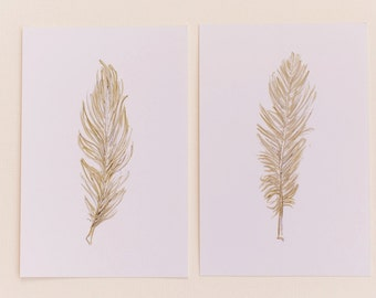 Set of 2 Gold Feather Prints, Portrait Style