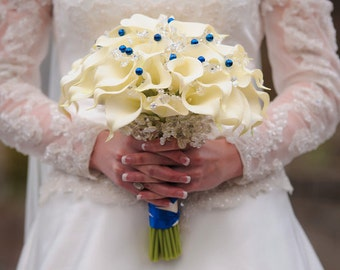 Calla lily bouquet real touch calla lily grand large bridal bouquet with pearls and crystals and royal blue and silver accents