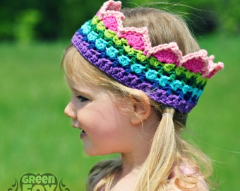RTS Rainbow Crochet Crown Boutique Color Block Crown Rainbow Princess Crown READY to SHIP Kids 4-10 years