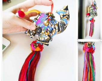 Hippie Elephant Doll Keychain with Colorful Pom Poms and Tassel, Bag Accessory Decoration Handmade. (AC1019)