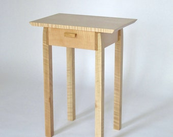Narrow End Table with Drawer: Tiger Maple Nightstand, Bed Side Table, - Handmade Wood Furniture