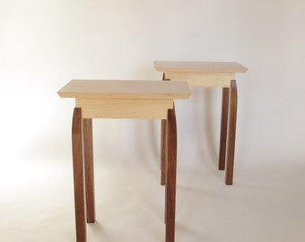 End Tables: Pair of small wood tables/ narrow end tables/ side tables/ accent tables- Handmade Wood Furniture