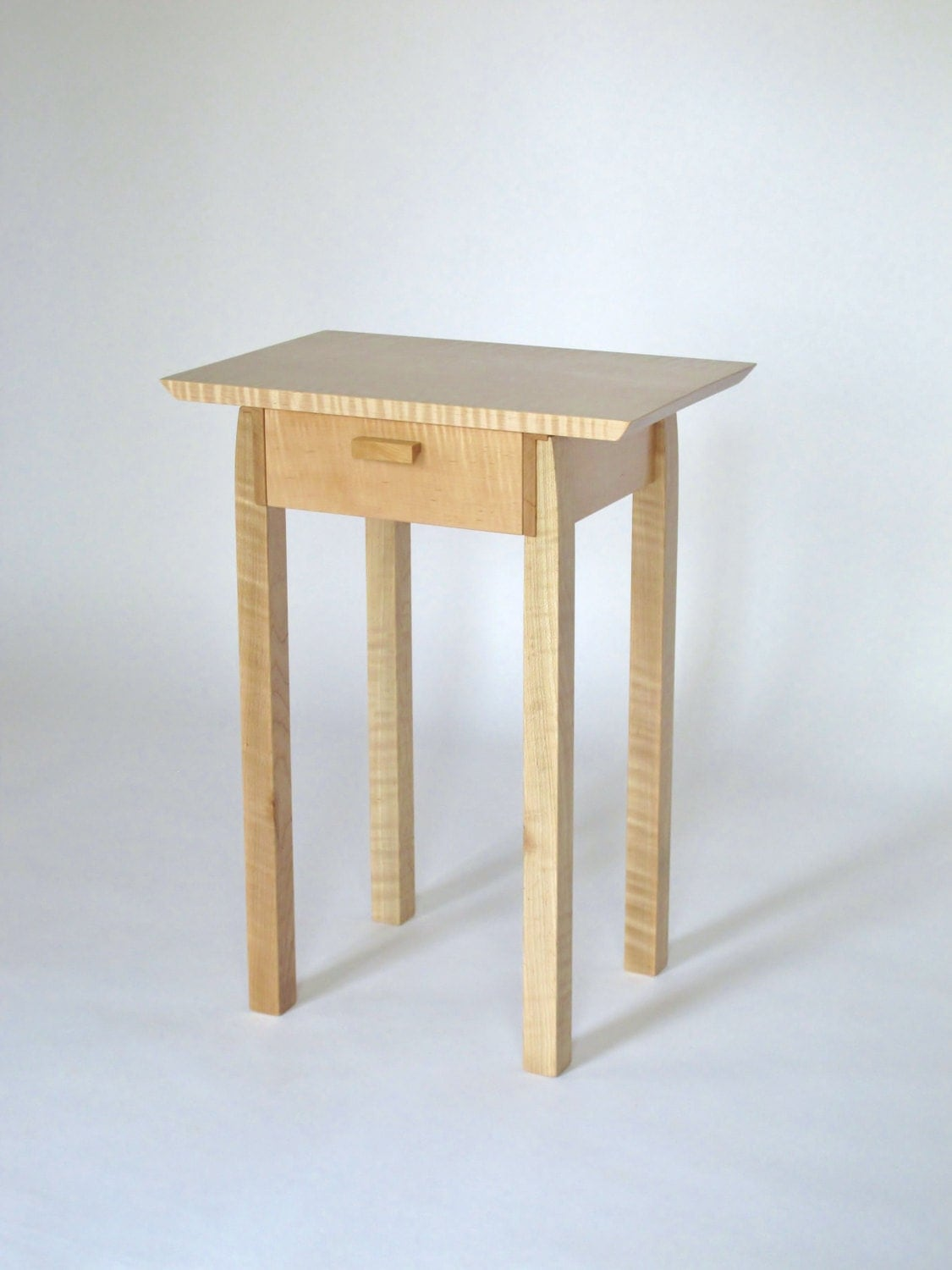 Narrow end table with drawer tiger maple nightstand bed side for Narrow side table