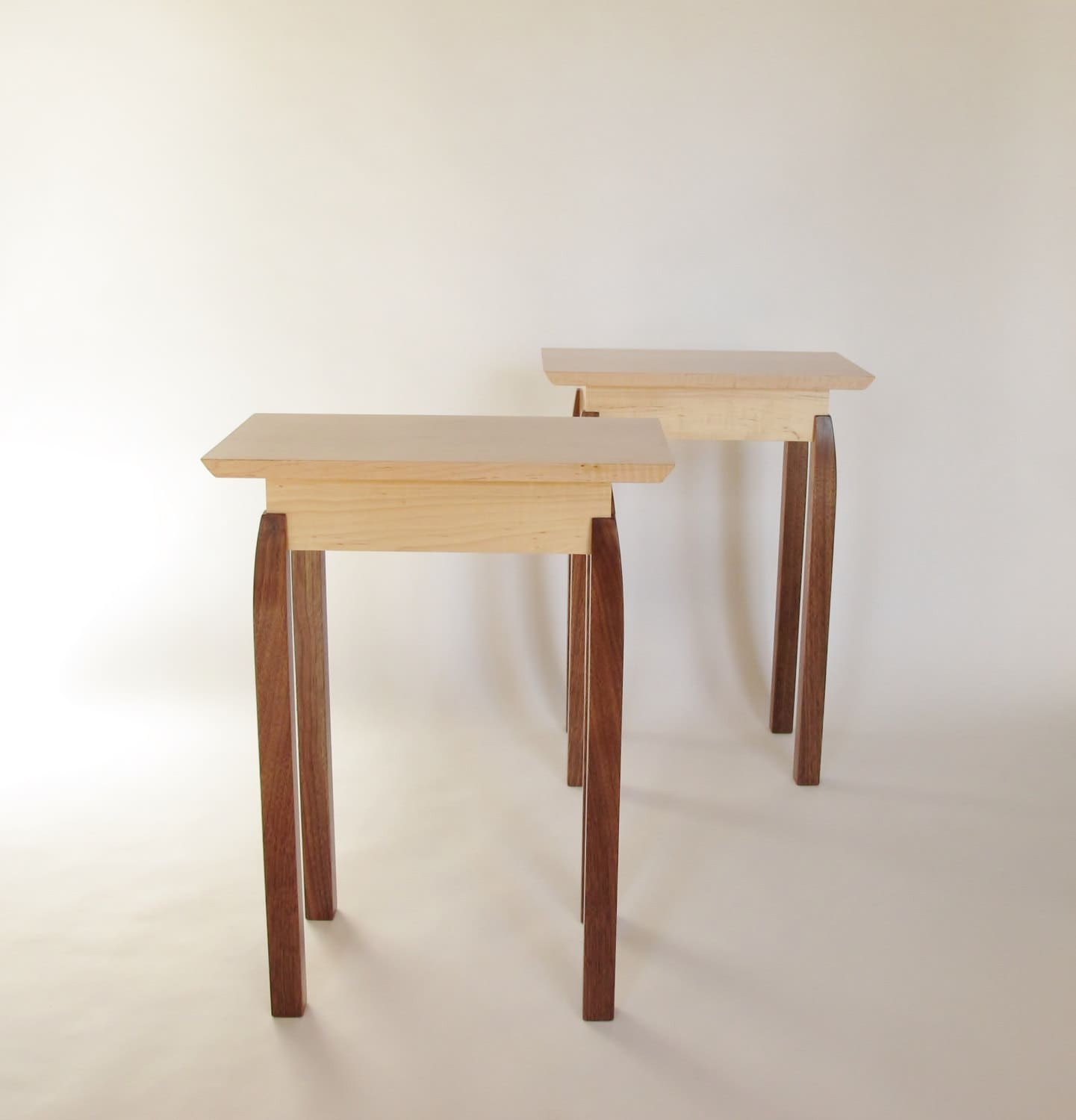 End tables pair of small wood tables narrow end tables side for Narrow accent table