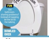 3 Put Me Down Toilet Decal - As Seen in Cosmopolitan Magazine January 2014