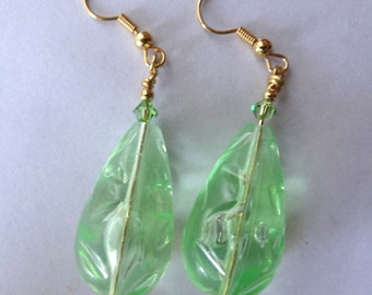 Lucite Jewelry Earrings Statement Jewelry Beads Green Bridal Bridesmaids Wedding