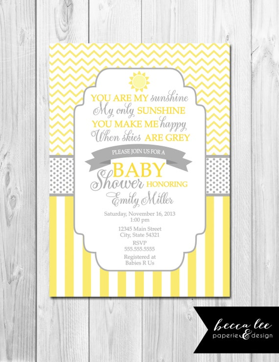 you are my sunshine baby shower invitation yellow and grey patterns