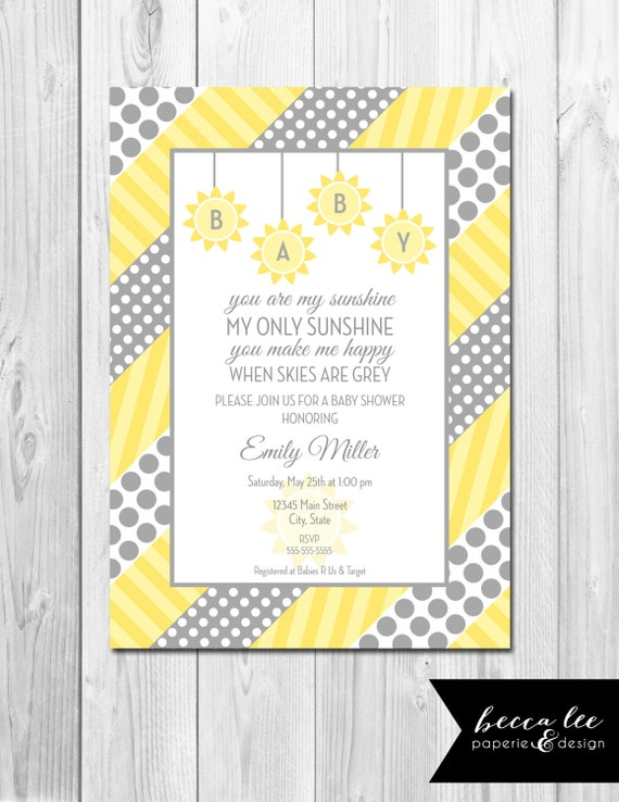 you are my sunshine baby shower invitation grey and yellow polka
