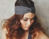 Dark heather grey, Slim turban twist headband, Pretty Petite collection, Yoga headband, HPP-P05