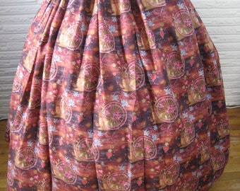 long Rust Maroon Gold Pink Gray Calico Skirt BOHO Gypsy Hippie Prairie Pioneer Colonial Civil War Old West SKIRT - one size fits all