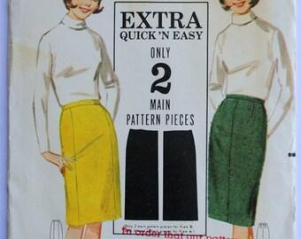 Wiggle Skirt Pattern- Vintage 1960s Womens Knee-Length Pencil Skirt Sewing Pattern Waist 24 Hip 33 Butterick 3258