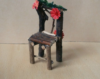 Fairy chair, red flower, dollhouse miniature 1/12