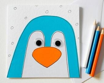 Handmade Penguin Greeting Card, Cute Penguin Card, Blank Christmas Card, Holiday Card, Penguin Christmas card, Cute Penguin birthday card