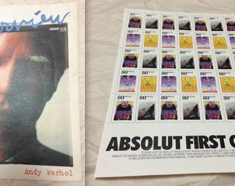Absolut Vodka Rare Sheet Of Ed Ruscha Andy Warhol Keith