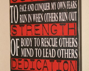Firefighter Sign, Firefighter Decor, Firefighter Gift, Firefighter Wall Art, Custom Wood Sign - Courage Strength Dedication