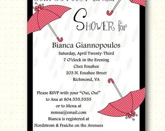 Bridal Shower Invitation, traditional, retro, red white black, classic, umbrella, invites, digital, printable, BW1462