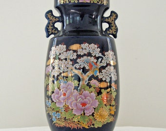 Large Vintage Asian Vase - Cobalt Blue - Painted Flowers