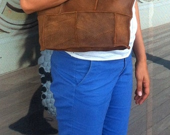 ON SALE.One of a kind, handcrafted woman brown leather tote bag, shoulder bag, for everyday use/ weekend bag ,medium size, A gift for her.