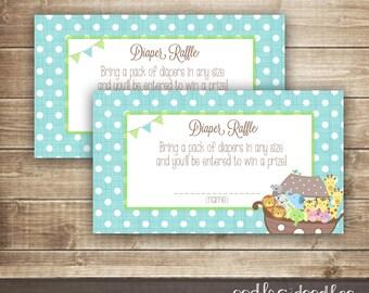 Diaper Raffle Ticket  / Noah's Ark Baby Shower / Baby Boy Shower or Sprinkle Printable Diaper Raffle Tickets - INSTANT DOWNLOAD - Printable