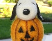 SNOOPY - Needle Felted - Great Pumpkin - Halloween - ***Made To Order***