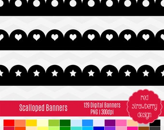 75% OFF Sale - Scalloped Banners -  129 Digital Clip Art - Instant Download - PNG (CA143)