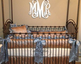 Taupe and Blue Silk Crib Bedding