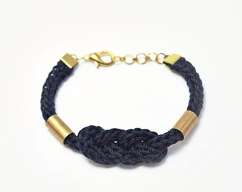 Nautical bracelet with knot and tubes, knit rope knot bracelet, navy blue bracelet, cord bracelet