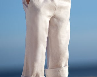 Boys White Linen Trousers