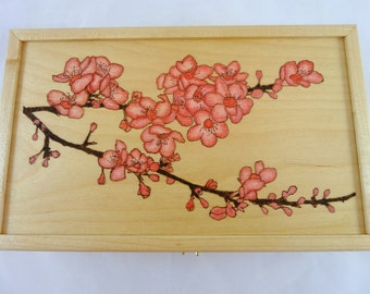 Wood Burned Cherry Blossom Box - MADE TO ORDER