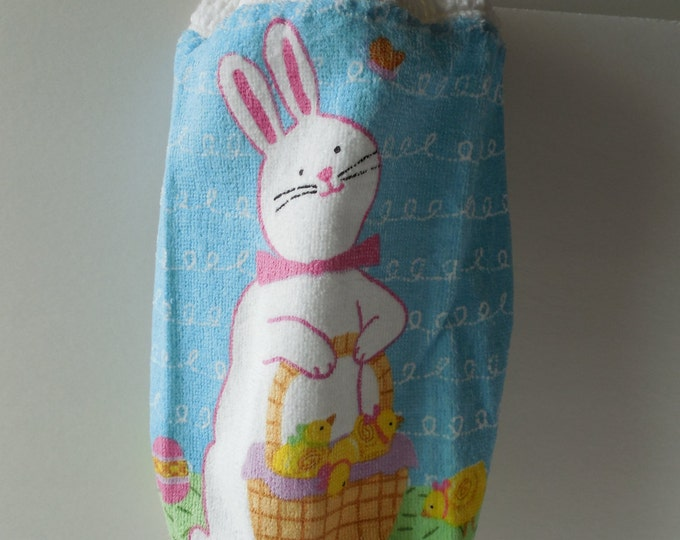 Plastic Bag Holder - Rabbit - Bunny - Easter - Handmade Crochet - Plastic Bag Storage - Holiday Decor - Ready to Ship