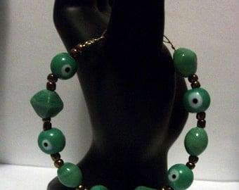 Evil Eye Bead Bracelet: Green