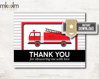Thank You Card : Sound The Alarm Baby Shower  - Firetruck - INSTANT DOWNLOAD - #2205