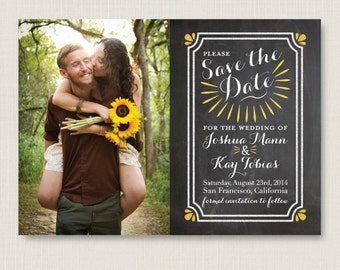 Chalkboard style save the date. Modern and clean wedding announcement, available as a postcard. Completely customizable and printable. #05